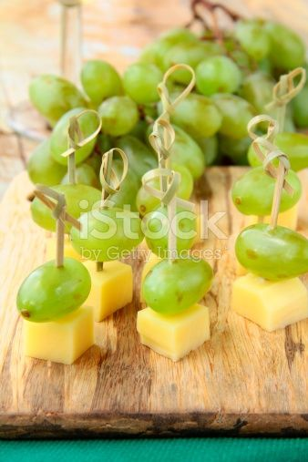 Appetizer Canape Cheese With White Grapes Stock Photo – Download Image Now