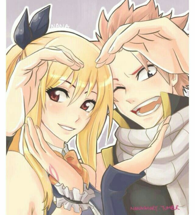 natsu lucy couple heart hands cute fairy tail