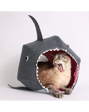 Cat Ball Kitty Bed - White Shark - Pet gifts - This machine washable cat bed it's the ideal pet gift. This hexagonal cat bed it's design with two openings and fits cats up to about 18 pounds. -  $99.00