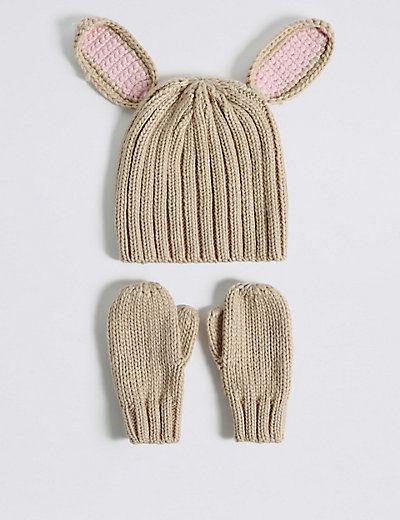 88b76154313 Kids  Bunny Hat   Mittens Set