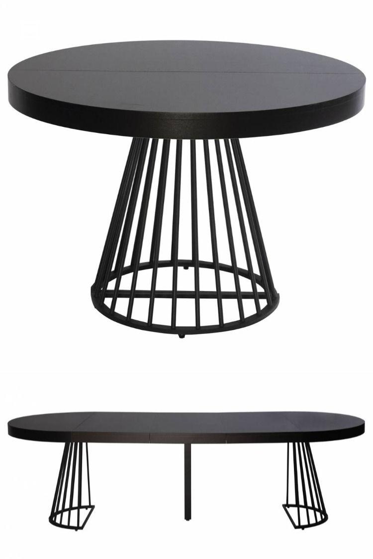 Table Ronde A Rallonge Sonia Noire Table A Manger Ronde Extensible Table A Manger Ronde Noire Table Ronde Rallonge