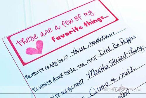 Favorites Questionnaire For Couples