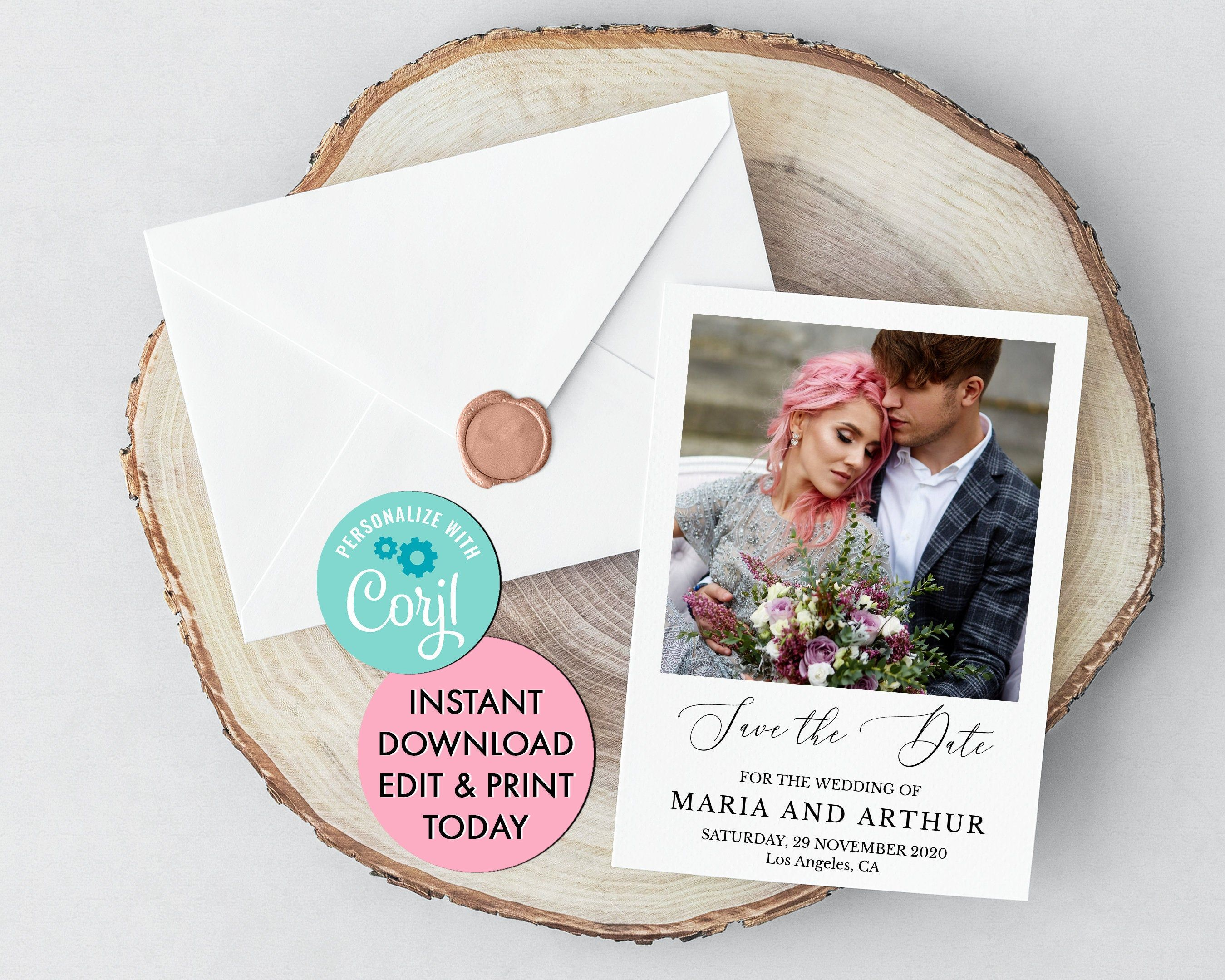 photo save the date invitation 100  editable online
