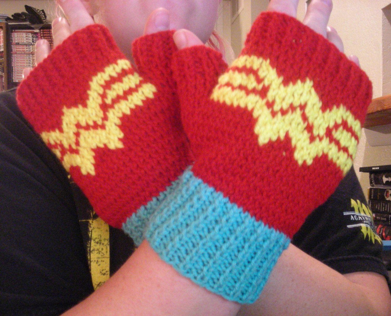 Wonder Woman fingerless gloves by DuckyDame | Knit/Crochet ...