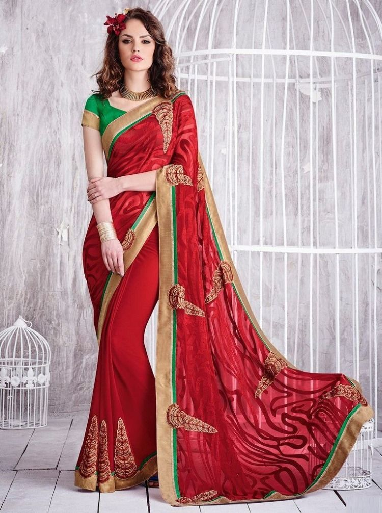 Photo of Raw Silk Lovely Wedding Function Sarees