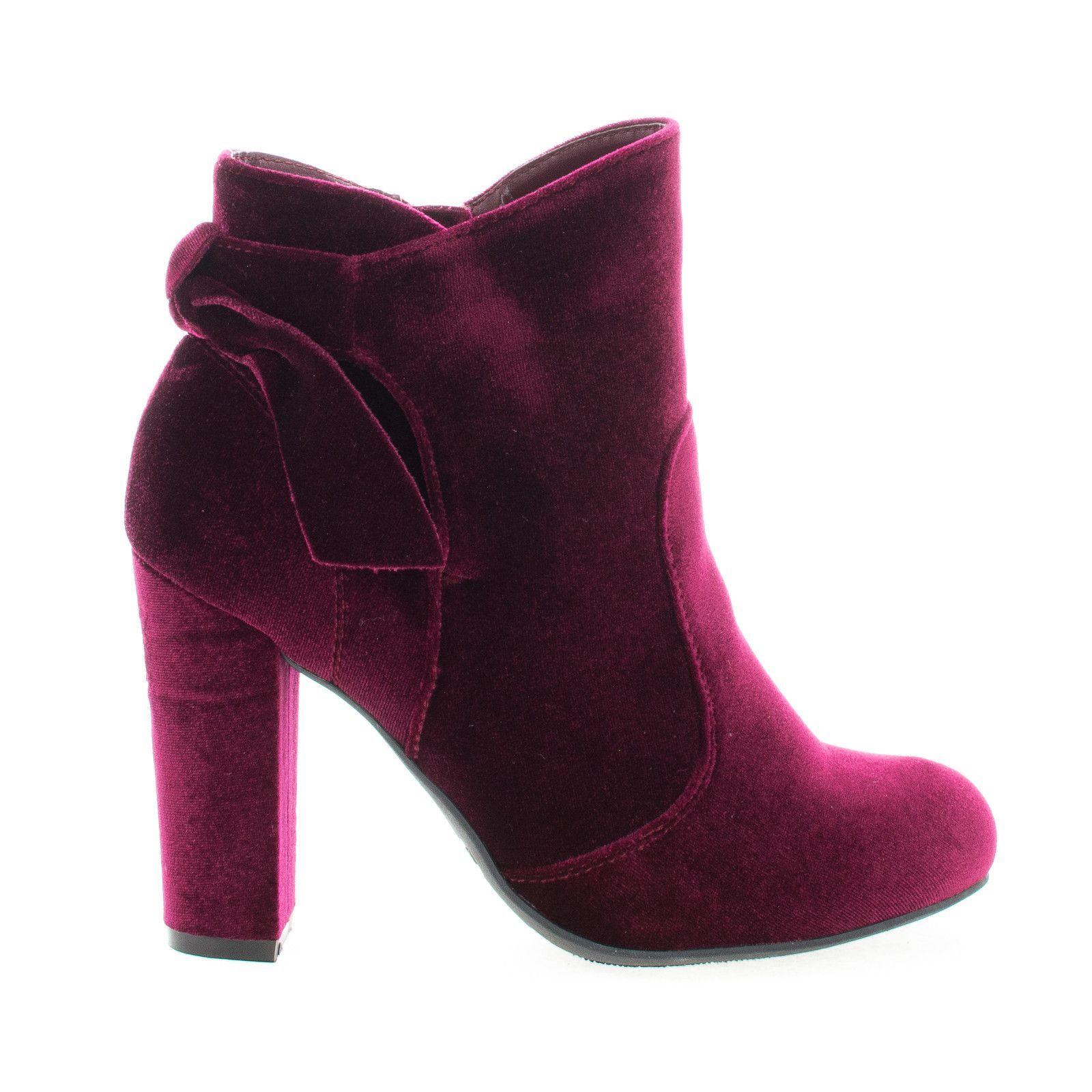 Velvet Block Heel Ankle Booties W Bow