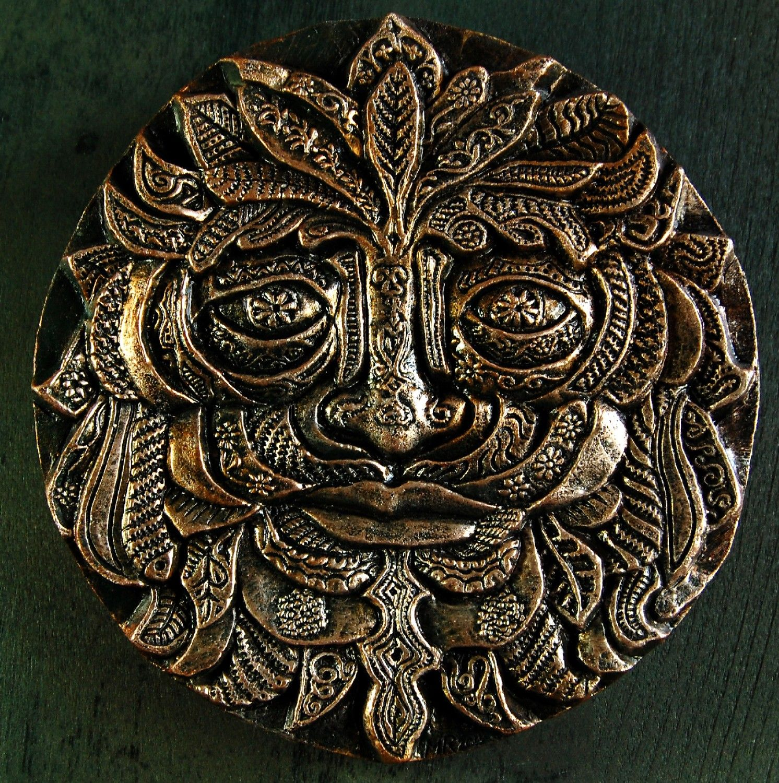 Green Man Bronze Fantasy Stone Art Sculpture