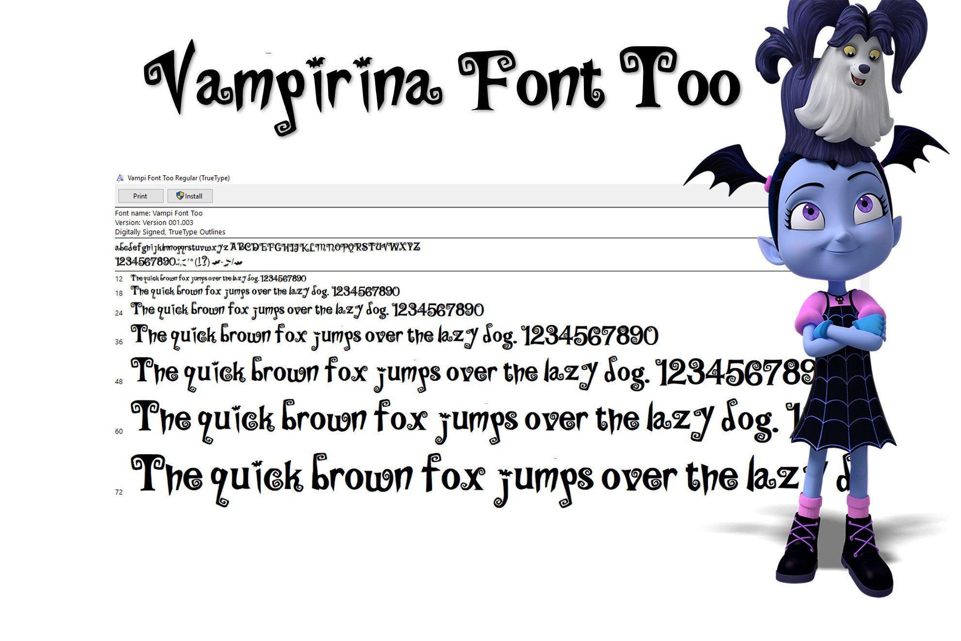 Good New Vampirina Font . New Version True Type. To Install And Write. Vampi Font