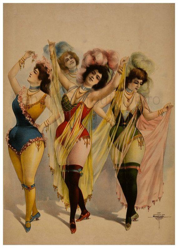 Lino Print Burlesque Dancers