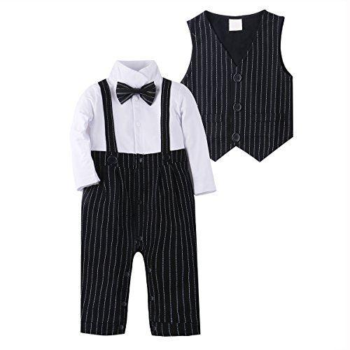 5c5140cbc Baby Boy Suit Clothes Adorable Baby Tuxedo Jumpsuit Outfit Romper ...