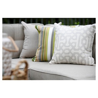Pillow in Fretwork - Pewter - AE Outdoor, Shades Of Gray, Durable
