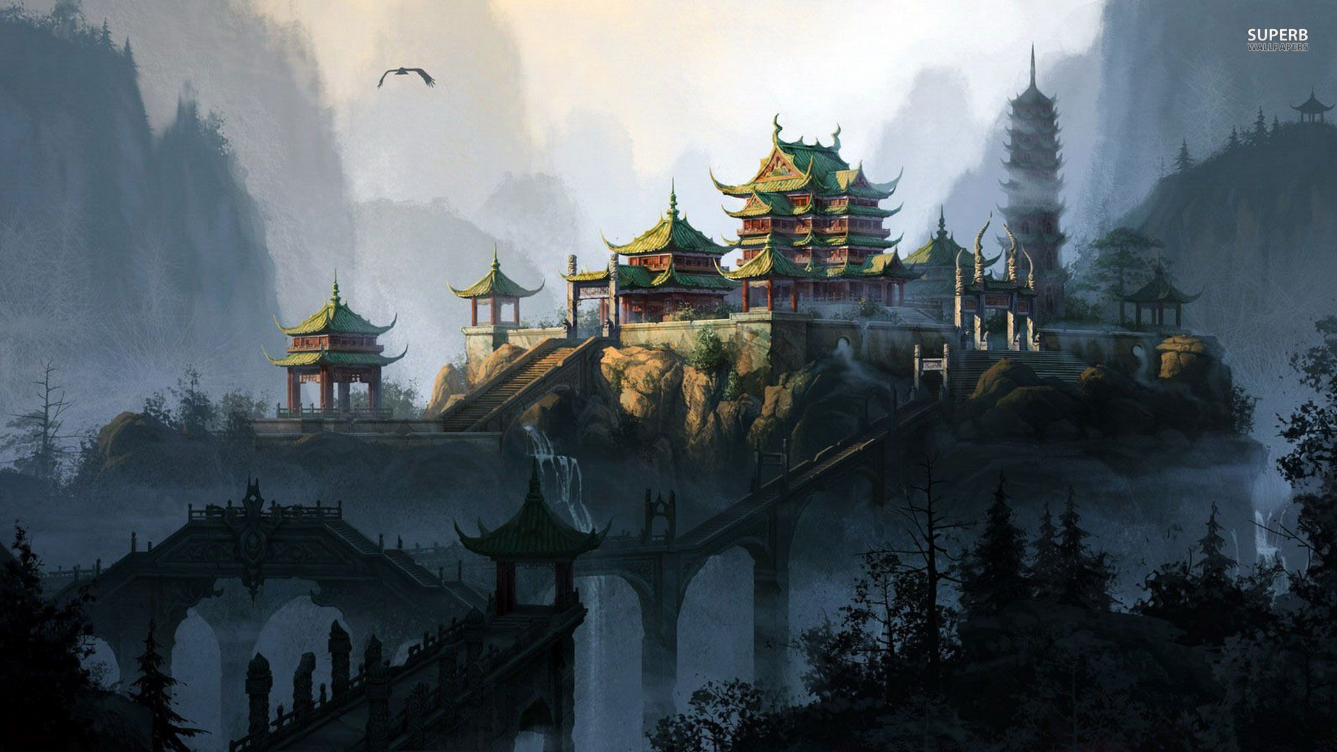 Asian Pagoda Temple, Illustration Cool Buildings and