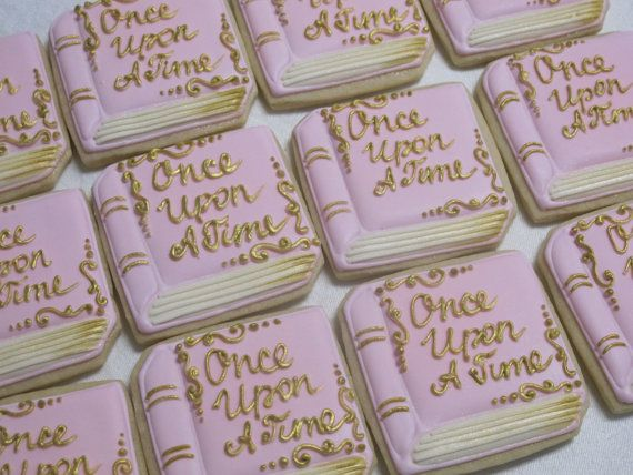 Storybook Decorated Sugar Cookies Fairy Tales Princess Theme Birthday Party Favors W Fairytale Baby Shower Trendy Baby Shower Themes Storybook Baby Shower