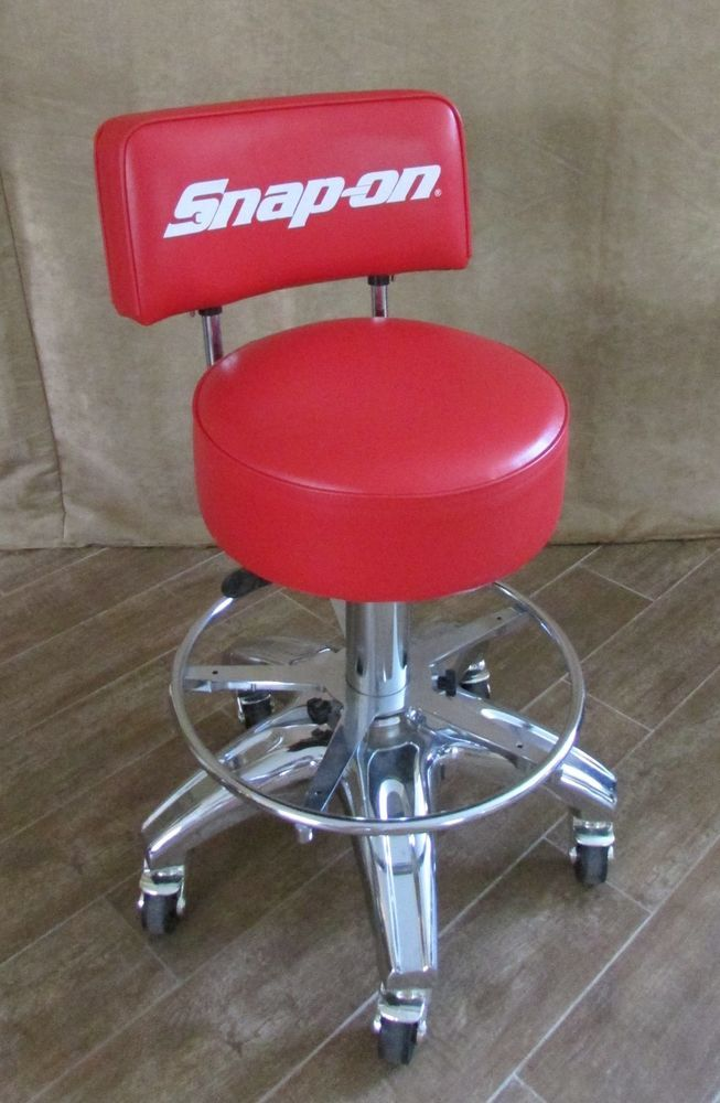 chair stool with back massage denver snap on rolling red tools shop man cave adjustable garage snapon