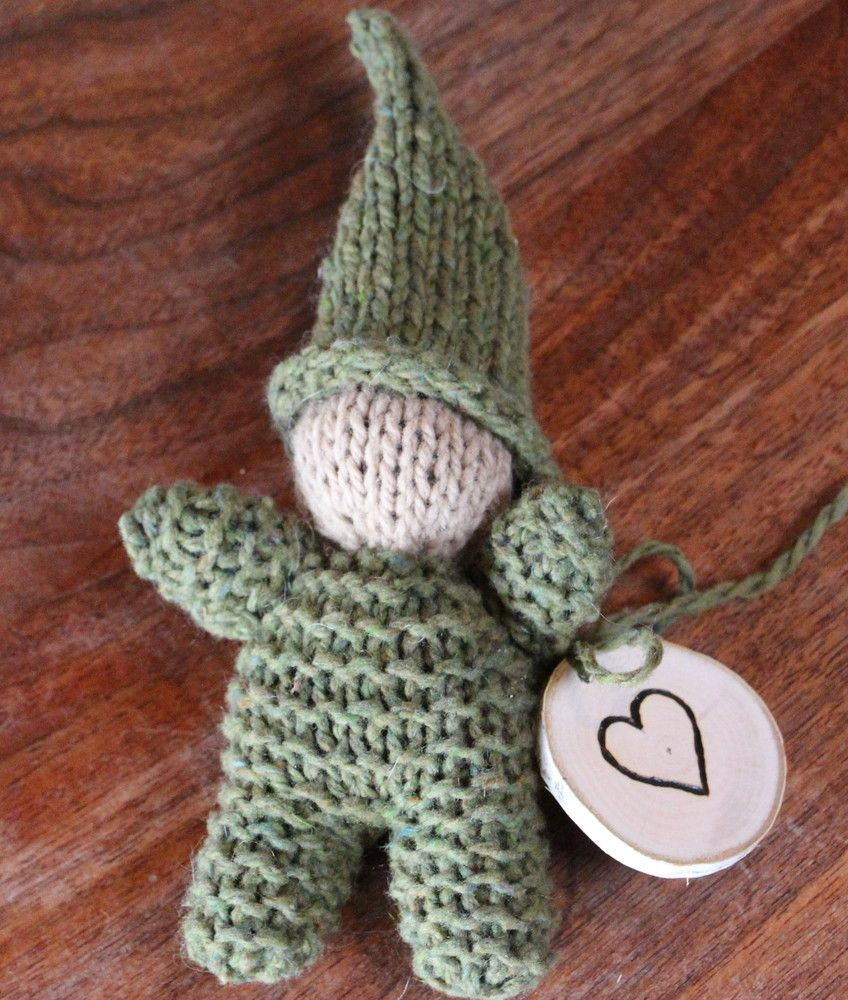 A wonderful gift for the for a baby,  toddler or preschool age child.This gnome is lovingly hand knit of  fine wool/mohair yarn from US sheep farmers and stuffed with clean carded wool.This gnome stands approximately 7 inches tall and comes with a hand wood burned heart birch hang tag.