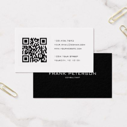 Black And White Qr Code Consultant Business Card Zazzle Com Qr Code Business Card Vintage Business Cards Simple Business Cards