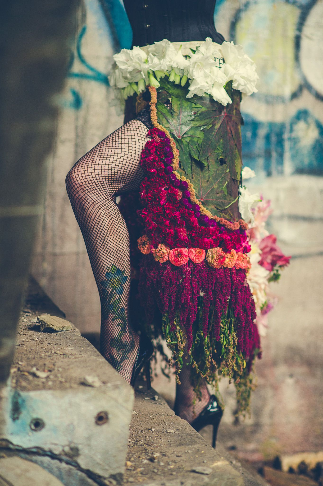 Skirt made with flowers Photo Credit:Brockit inc Model/Lingerie: VereDeVere Vintage Flowers: Rock River Farm