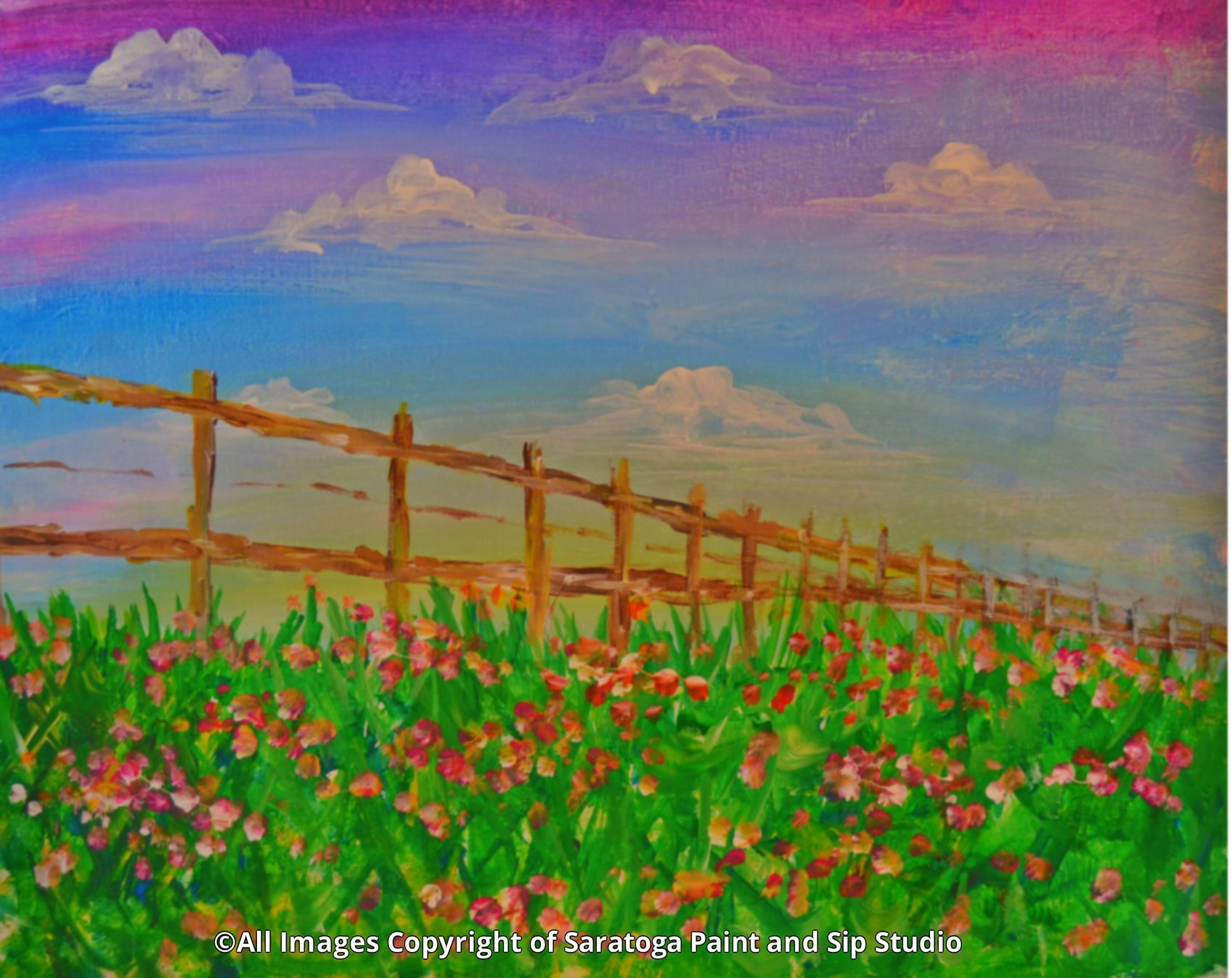 Fence of flowers at saratoga paint sip studio with