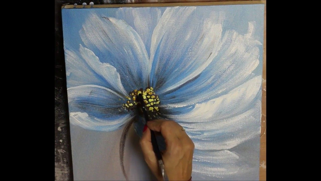 How to make Abstract Flower Painting with gold leaf ...