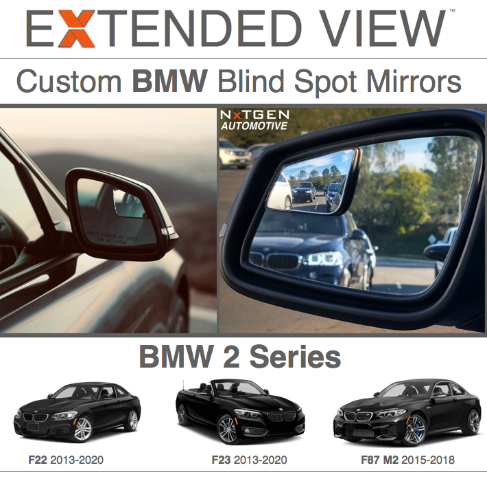 Compatible with BMW 2 Series F22 Extended View Blind Spot Mirrors