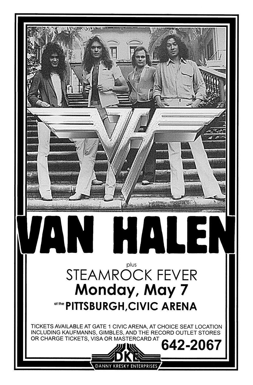 Van Halen Steamrock Fever Civic Arena 1979 Live Concert Retro Art Print Poster Size Print Of Re Music Festival Poster Concert Posters Vintage Music Posters