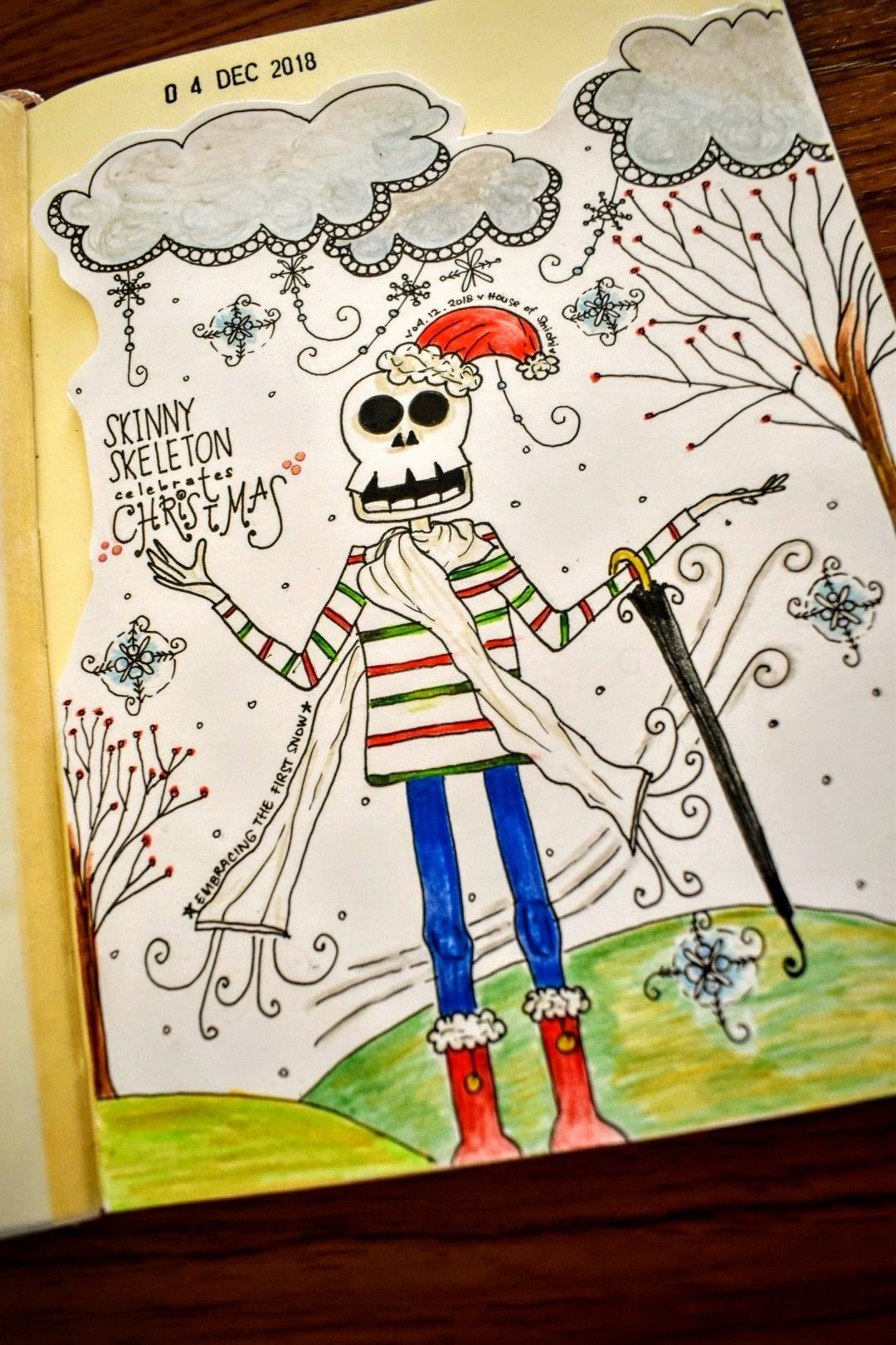 Skinny Skeleton is embracing the first snow. Created by House of Smichi.