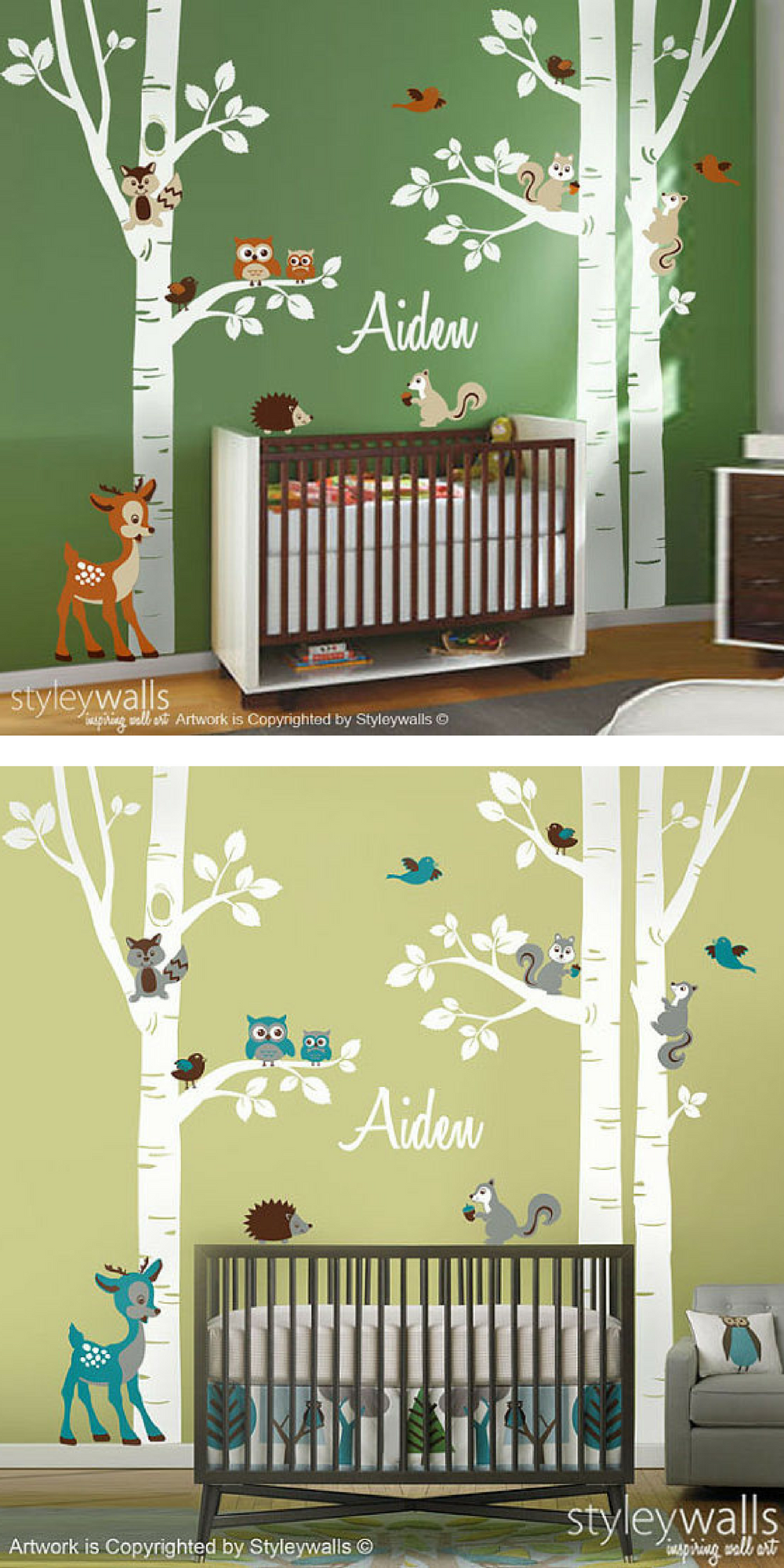 These Are Perfect For A Woodland Theme Kids Room Or Nursery Cute Wall Decal Of Birch Trees And Animals Can Be Made In Many Diffe Colors Too