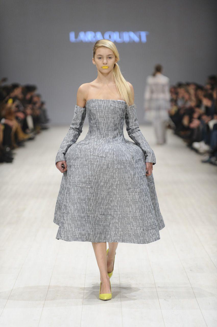 60c6ba424a LARA QUINT SS 15. X-silhouette corset-bustier strapless crinoline-supported  midi dress