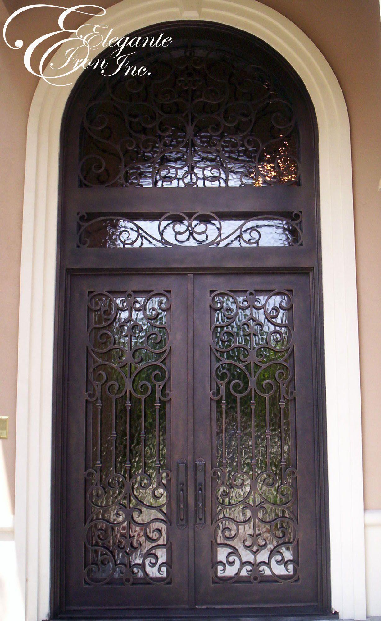 Custom wrought iron door with transom. | Double doors | Pinterest ...