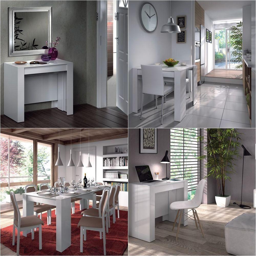 Mesa consola extensible recibidor cocina comedor escritorio blanco brillo 4580bo dise o de - Consola extensible barata ...