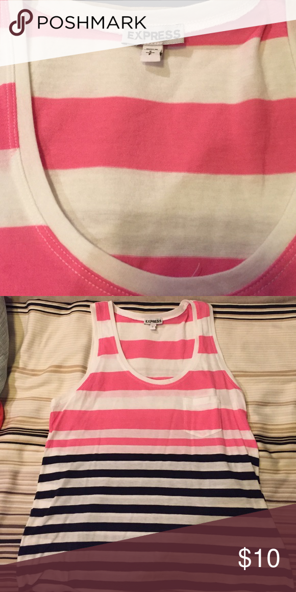 Express - size S- pink, white and navy tank. Express - size S- pink, white and navy tank. Maybe I used this twice.... Maybe! Express Tops Tank Tops