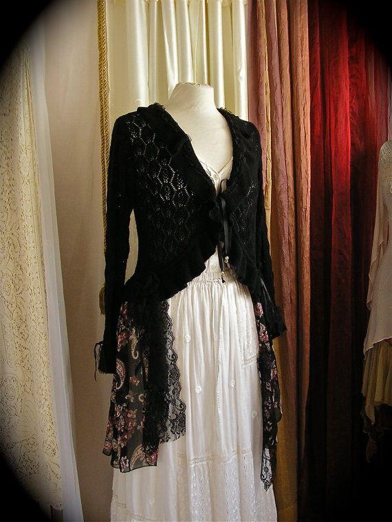 Black Bohemian Gypsy Sweater Coat - eco friendly upcycled ...