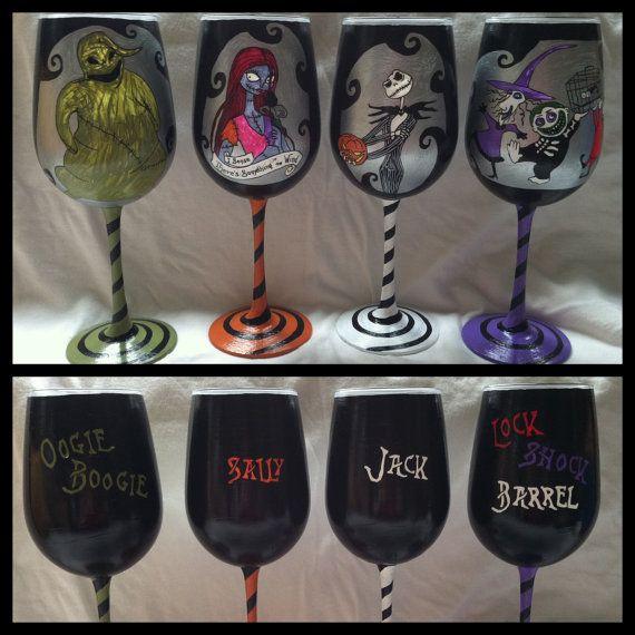 Nightmare before christmas wedding wine glass