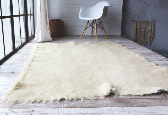 Wool Rug Swedish Flokati Moroccan White