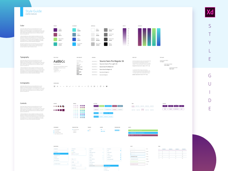 Free Adobe Xd Styleguide Adobe Xd Style Guides Style Guide Template
