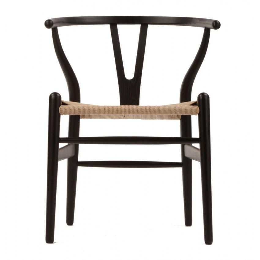 Charming CH24 Wishbone Chair Black U0026 Natural Paper Cord Seat