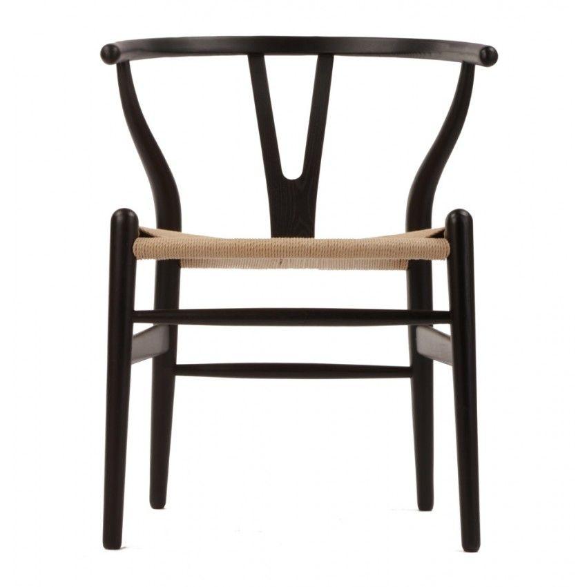 Charming CH24 Wishbone Chair Black U0026 Natural Paper Cord Seat