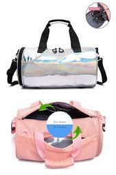 travel bag #travel Silver and Pink Dry Wet Duffle Bags For Women and Men for Fitness Gym Yoga Travel...