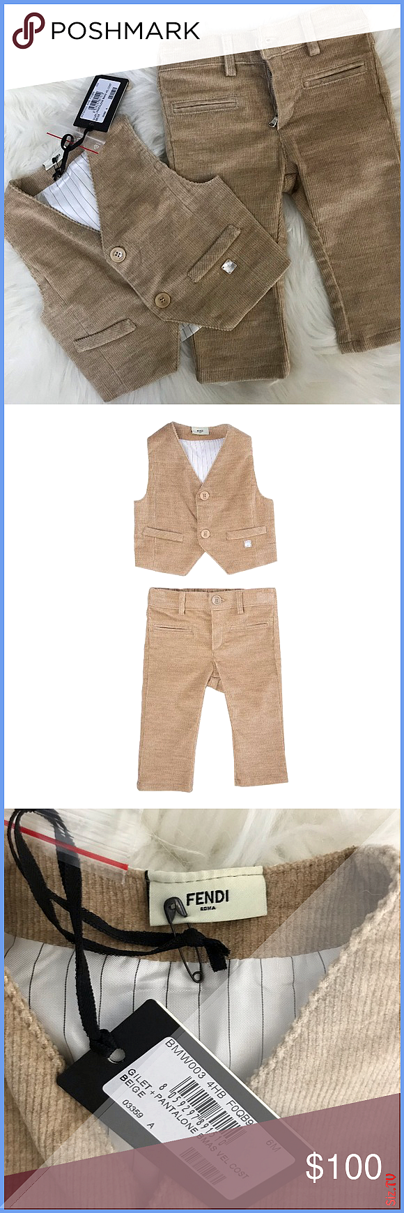 HP NWT Fendi Roma Baby Boy Vest 038 Pants Set Perfect baby shower gift or splurge for your little man New with tags Courdroy fabric 90 HP NWT Fendi Roma Baby Boy Vest 038...