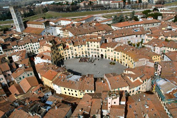 Aerial view of Piazza Anfiteatro in Lucca, Italy