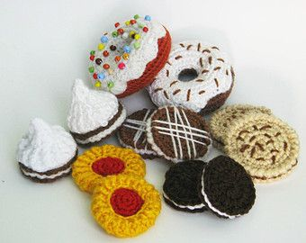 amigurumi h keln meringue kuchen donuts spielsatz essen 12 h keln cookies geschenk f r kinder. Black Bedroom Furniture Sets. Home Design Ideas