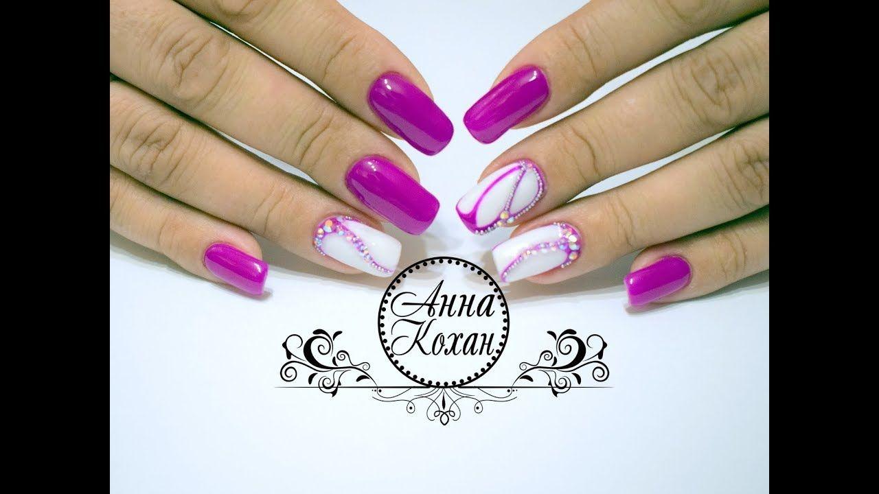 верхний дизайн ногтей с бульонками и стразами фото