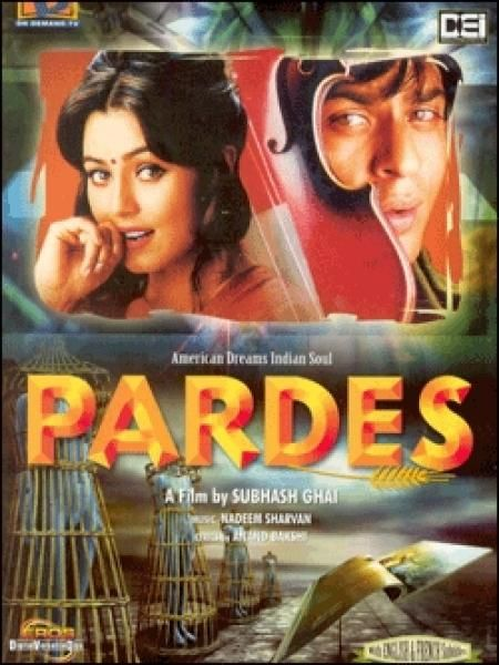 Pardes 1997 Shahrukh Khan Mahima Chowdhari Amrish Puri Apurva Agnihotri Alok Nath Best Bollywood Movies Bollywood Posters Movies