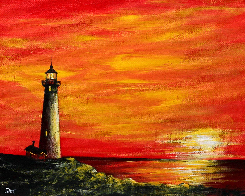 Lighthouse Sunset Original Acrylic Painting On 8 X10 Canvas