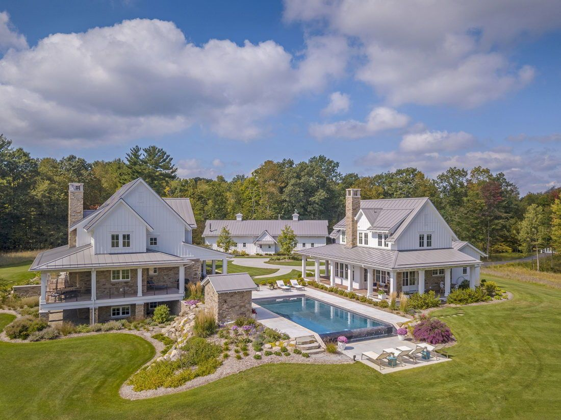Gorgeous Farmhouse Estate Unites With Nature In The Michigan Countryside In 2020 Family House Plans Compound House Farmhouse Style Exterior