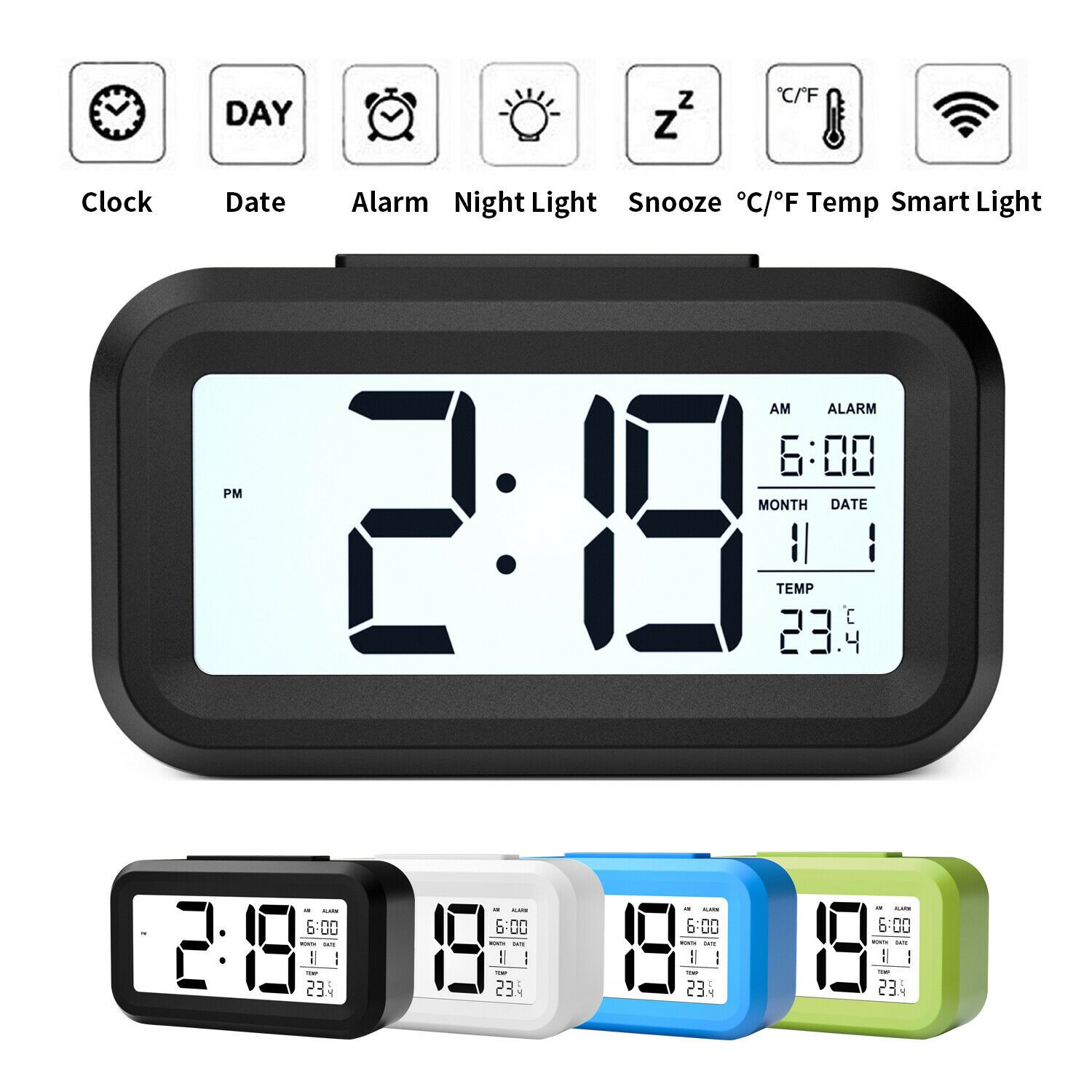 Digital Snooze Led Alarm Clock Backlight Time Calendar Temperature Thermometer Clock Ideas Of Clock Clock Digital Snooze Led Al Alarm Clock Clock Alarm