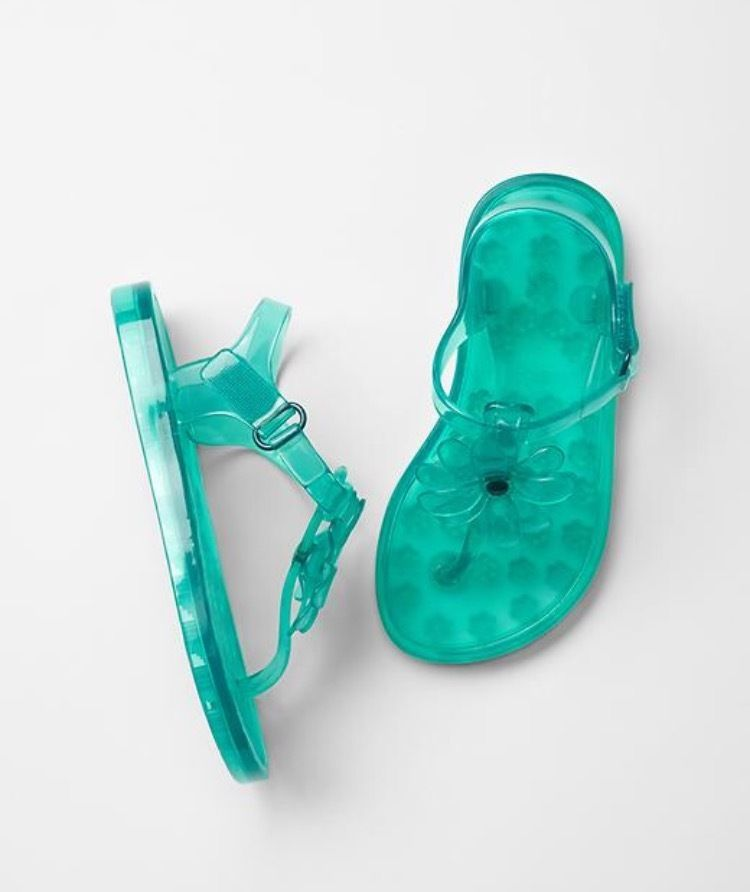 6b5a9eb295bcf NWT babyGap Toddler Girls Flower Jelly Sandals Aqua Color sizes 5-6-7-8-9-10   babyGap  Sandals