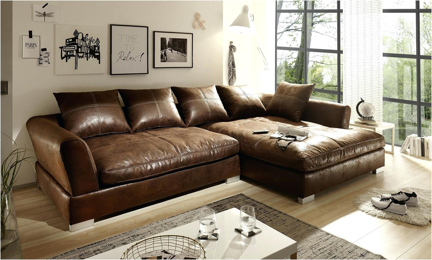 Relax Sofa Braun Kreativ Big Sofa Echtleder Couch Möbel In 2019 Big Sofas