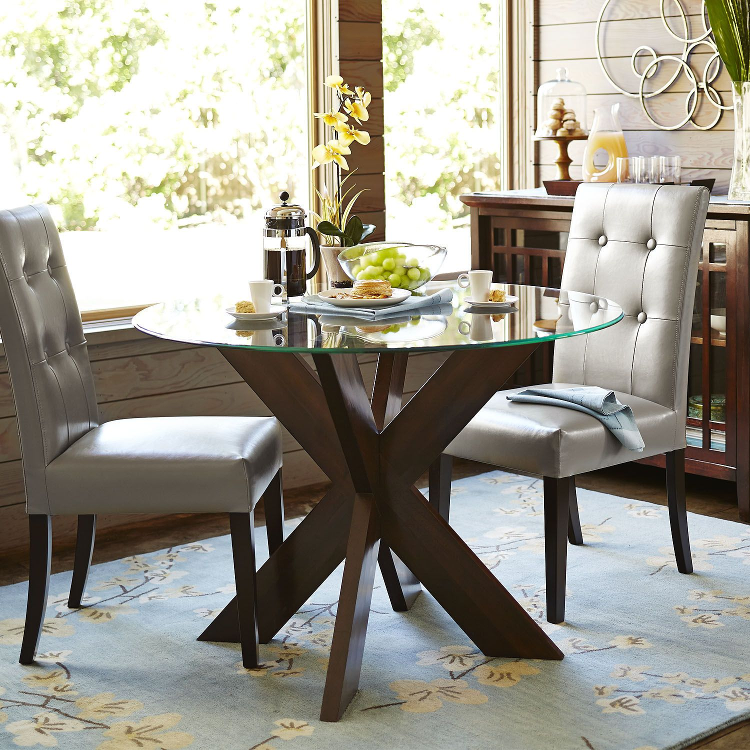 Simon Espresso X Dining Table Base Glass Round Dining Table