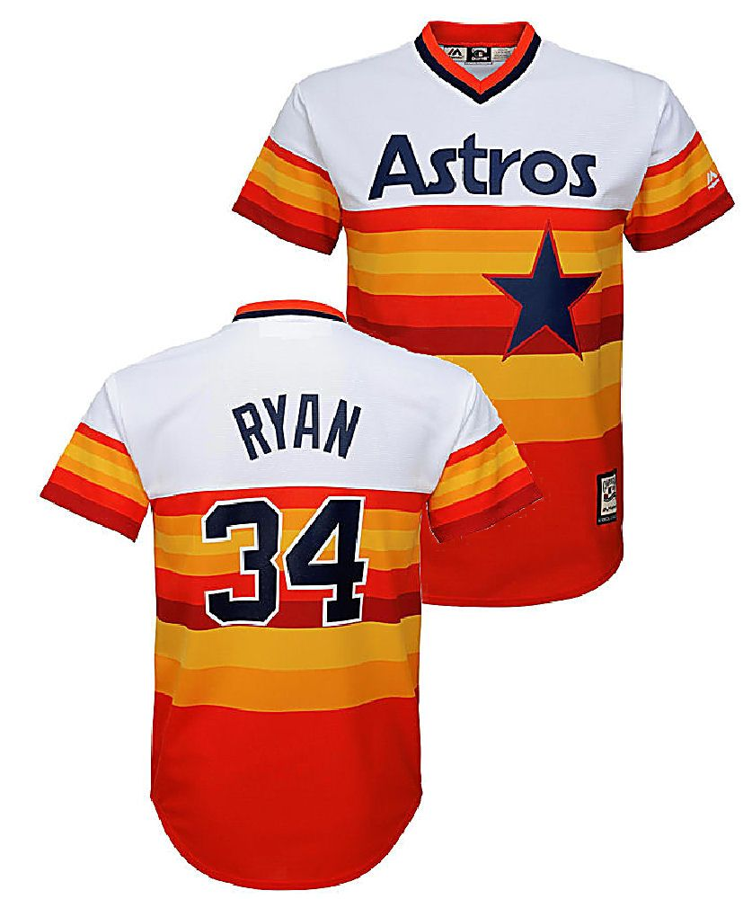 d748a7b3a20 Youth Nolan Ryan Houston Astros Cooperstown Rainbow V Neck Baseball Jersey   54.95